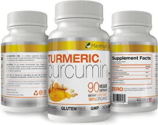 Turmeric Curcumin with Piperine 1500mg. Highest Potency Available. Premium Pain Relief & Joint Support with 95% Curcuminoids. Non-GMO, Gluten Free 90 ct