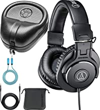 Audio-Technica ATH-M30x Monitor Headphones Bundle with Slappa Full-Sized HardBody Pro Headphone Case, and Blucoil 6-FT Headphone Extension Cable (3.5mm)
