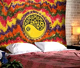Colorful Chakra Psychedelic Tapestry - Twin Hippie Wall Hanging Mandala Tie Dye Tapestries Yin Yang Boho Wall Decor Decorative Cotton Bedding - Multicolor - 84