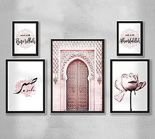 Decorazione da parete - 5 set di poster da parete di poster premium per soggiorno, arte della parete islamica senza cornic...