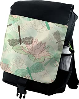 Lotus Lily Blossom Large Weekender Carry-on Ambesonne Pink and Green Gym Bag