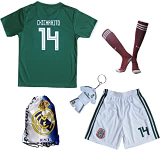 KID BOX 2018 Mexico #14 CHICHARITO Kids Home Soccer Jersey & Shorts Socks Set Youth