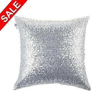 Kevin Textile Sequins Decorative Euro Throw Pillow Cover Sham 18 x 18 Pillow Case Cushion Cover,Hidden Zipper Design,1 Pack (Silver)