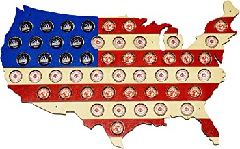 Striped USA Beer Cap Map with Red White and Blue Stripes - Holds 50 Craft Beer Bottle Caps - Guy Gifts (Red White Blue)