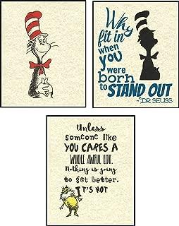 Set of 3 Dr. Seuss Artwork Prints Picture Poster Home Office Bedroom Nursery Kitchen Wall Decor - unframed