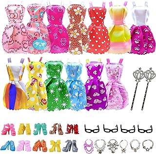 AMETUS 32 PCS Doll Accessories, 10x Mix Cute Dresses, 10x Shoes, 4X Glasses, 6X Necklaces, 2X Fairy Sticks Dress Clothes f...