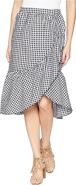 Gingham Asymmetrical Midi Skirt