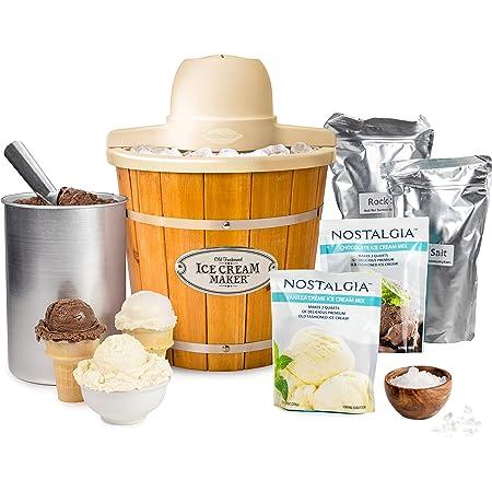 Amazon Com Nostalgia Icmp400wdbun Wood Bucket Electric Ice Cream Starter Kit 4 Quart Brown Kitchen Dining