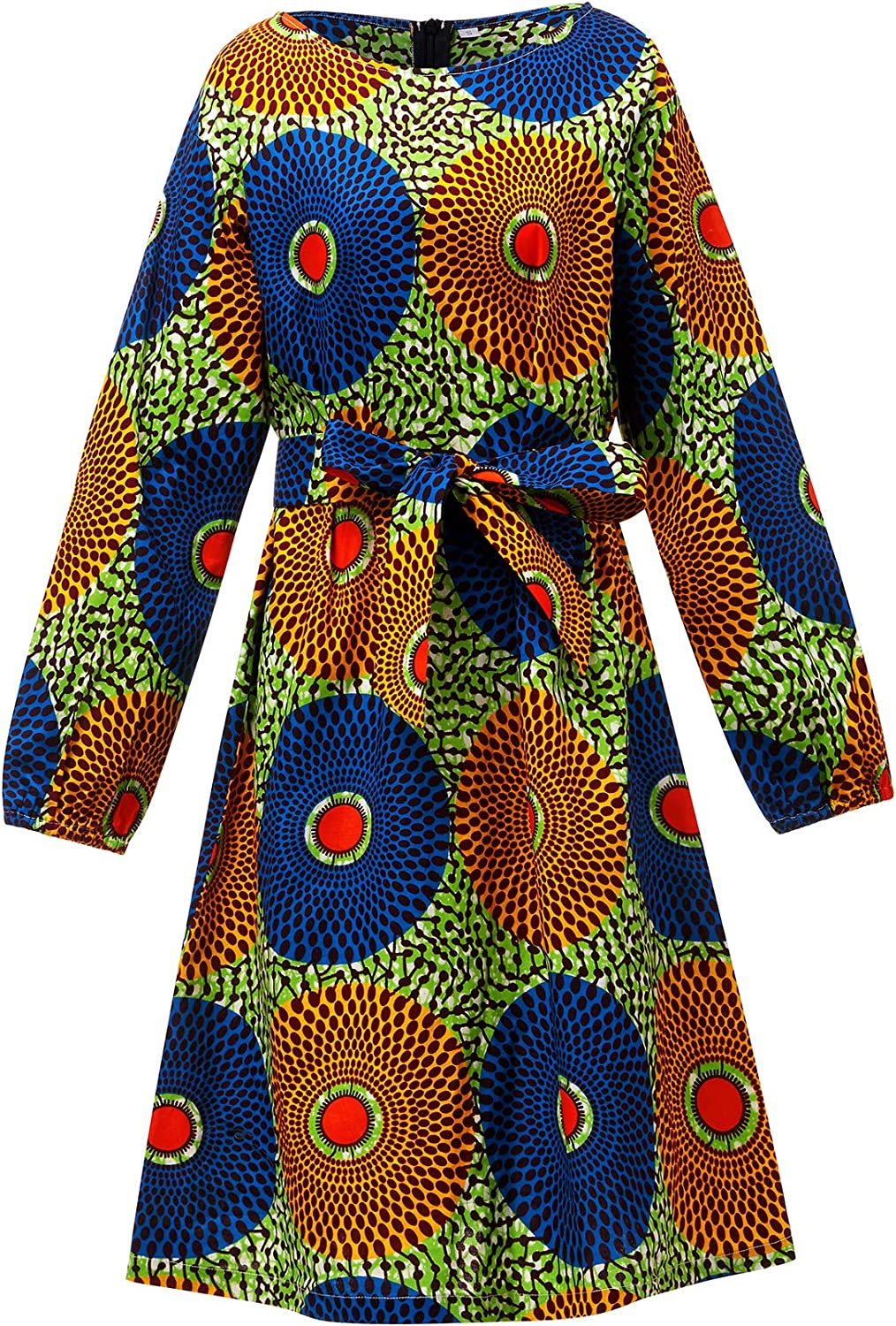 Aikaplus Women African Print Dress Traditional Dashiki Long Sleeves Maxi Cotton Dresses