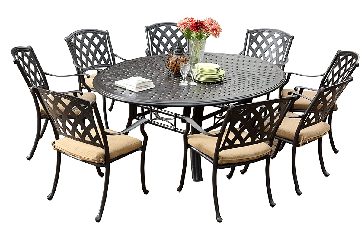 Darlee 201630-9PC-99LD Ocean View Cast Aluminum 9 Piece Round Dining Set and Cushions, 71