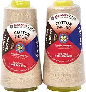 Mandala Crafts Quilting Cotton Thread Cone for Machine and Hand Sewing, 100 Percent Natural Mercerized, 50 wt (2 Rolls 2400 Yards, Cream)