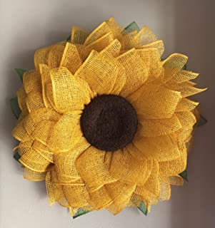 Yellow Sunflower Wreath, Poly Burlap Wreath, Mesh Front Door Wreath, Spring Wreath, Summer Wreath, Welcome Wreath, Country Wreath, Flower Wreath