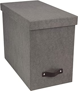 Bigso John Canvas Paper Laminate Desktop File Storage Box, Grey