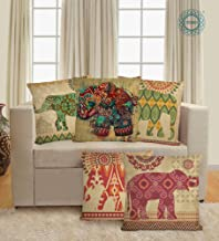 STITCHNEST Rajasthani Elephant Digitally Printed Jute Material with Multicolored Cushion Cover - Set of 5 (Beige and Red, 12 X 12 inches)