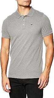 Tommy Jeans Piqué P Camiseta Polo con Cierre de 3 Botones, Gris (Lt Grey Htr), XL para Hombre