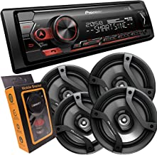 """Pioneer Single DIN Bluetooth Digital Media Receiver with Short Chassis, Supports Amazon Alexa & Spotify + 2 Pairs of 6.5"""" ..."""