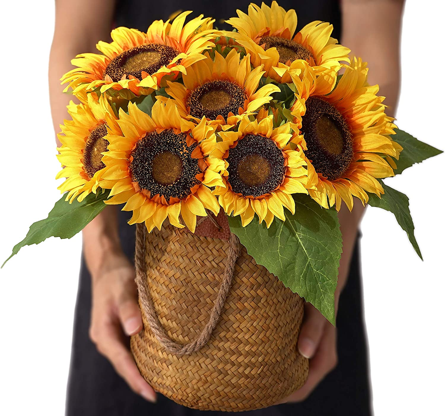 KARORO Artificial Flowers Sunflowers with Woven Basket Fake Flower Bouquets in Handmade Vase Faux Sunflower Decor for Home Office Table Centerpieces Decor Wedding Arrangements Decoration