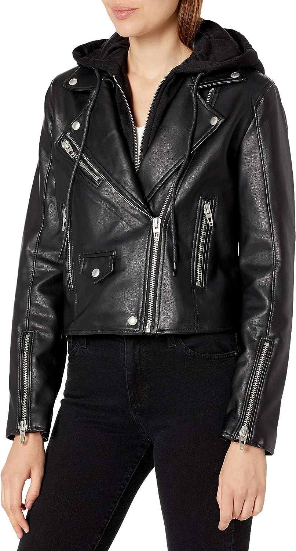 [BLANKNYC] womens [Blanknyc] Women's Vegan Leather Moto Hooded Jacket