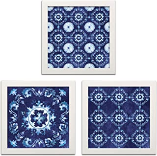 Roaring Brook Lovely Blue and White Decorative Medallion Print Set by TRE Sorelle Studios; Three 12x12in White Framed Prints