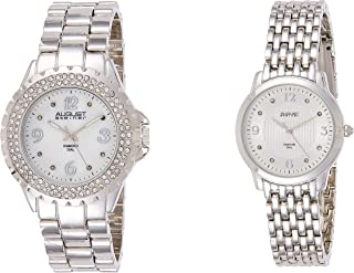 August Steiner Women's Silver Tone Watch Set - Textured and white Mother of Pearl Diamond Dial with Crystal Bezel and Big Number Hour Markers - AS8171