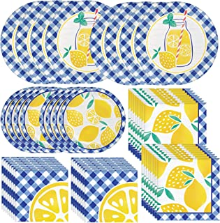 Creative Converting Gingham Lemonade Dinnerware Party Bundle   Dinner & Dessert Plates, Beverage & Luncheon Napkins   Summ...