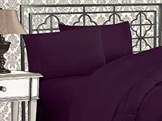 Elegant Comfort Luxurious 1500 Thread Count Egyptian Three Line Embroidered Softest Premium Hotel Quality 4-Piece Bed Sheet Set, Wrinkle and Fade Resistant, King, Eggplant-Purple