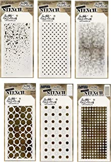 6 Tim Holtz Mixed Media Layered Stencils Set   Shifter Dots, Speckles, Polka Dot, Fade, Rings, Grid Designs   Templates for Arts, Card Making, Journaling, Scrapbooking   by Stampers Anonymous