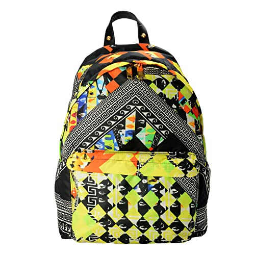 Versace Versus Genuine Leather Trimmed Multi-Color Patterned Unisex Backpack 4c0590cc047d8