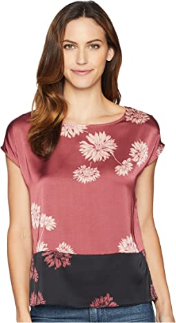 Extended Shoulder Chateau Floral Blouse
