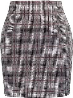 Womens Plaid Elastic Waist Bodycon Mini Pencil Skirt