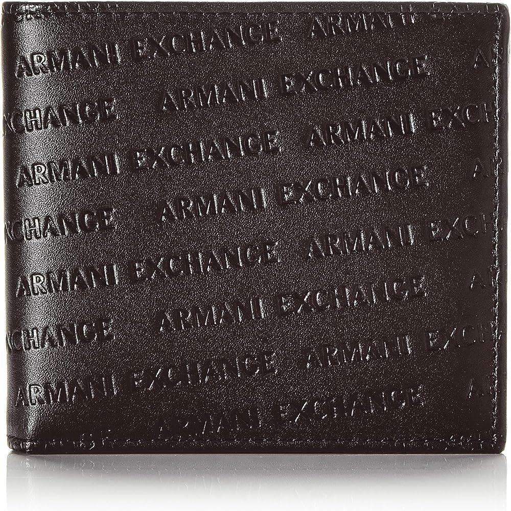 Armani exchange bifold, portafoglio pieghevole in due per uomo, in pelle , nero 958098CC349