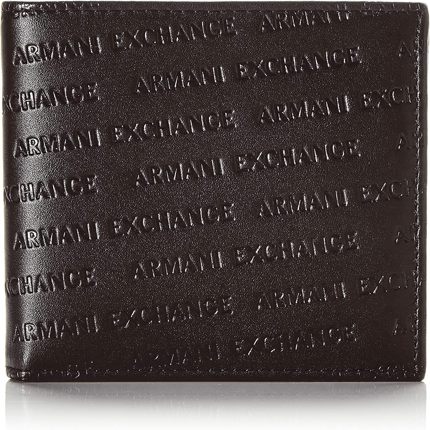 AX Armani Exchange Men's All Over Logo Embossed Bifold Wallet W/Coin Pocket