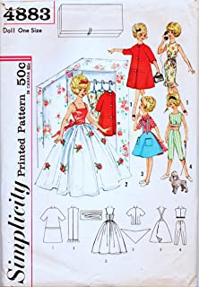 Simplicity Printed Pattern , Sewing #4883 , Circa 1950's , Closet Full of Clothes for Twelve Inch Teen Age Doll - Tammy , Instructions for Making Closet and Hangers Included , Size 12