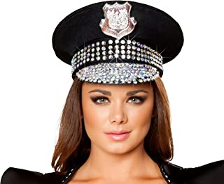 Studded Police Hat Costume, Black/Rhinestone, One Size