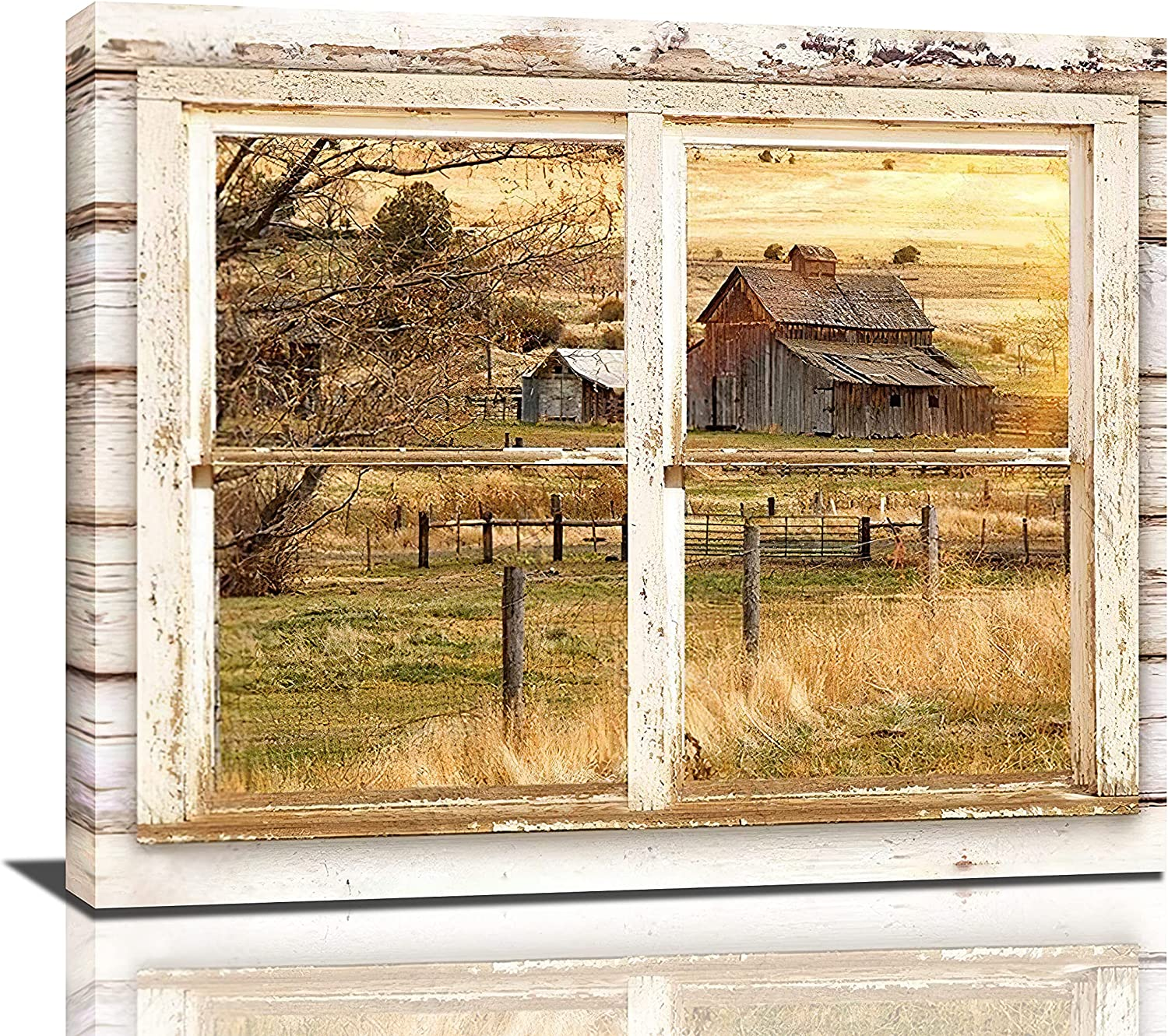 Rustic Wall Decor Barn Canvas Wall Art Hand Painted Farmhouse Painting Beautiful Barn In The Afternoon Through Rustic Window Pictures For Living Room, 24x20 Inch