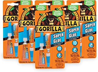 Gorilla Super Glue, Two 3 Gram Tubes, Clear, (Pack of 6)