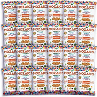 Mozaics Organic Popped Veggie & Potato Chips- Healthy snack, under 100 calories, better than veggie straws or stix - gluten free - 0.75oz single serve bags (Cheddar, 24-count)
