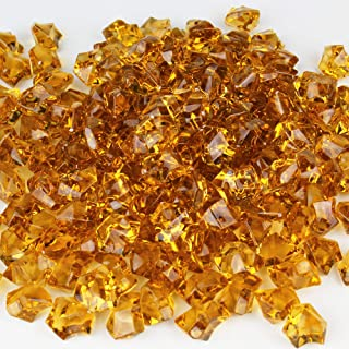 CYS EXCEL Acrylic Ice Rocks for Vase Fillers, Acrylic Gems for Table Scatters, Event, Wedding, Birthday Decoration (Acrylic Ice Amber, 1 Pound)