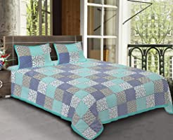 BhagwatiUdyog King Size Block Printed Double Bedsheet Cotton with Pillow Cover, Green