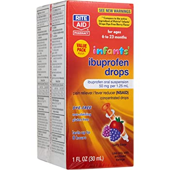 Rite Aid Infants' Dye-Free Ibuprofen Drops, Berry Flavor, 50 mg - 2 Pack   Infant Pain Reliever