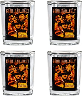 Western Shot Glass 4pc Set by Rabbit Tanaka- Good, Bad and The Ugly Movie Poster 2 Oz Shot Glasses- Set of Four- Novelty Barware