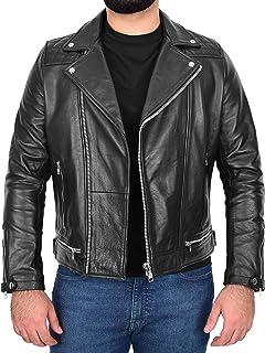 Mens Real Leather Cross Zip Biker Jacket Casual Brando Design Sean Black