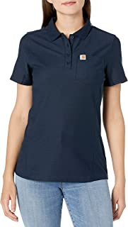 Carhartt Women's Short Sleeve Polo Shirts, Navy, M