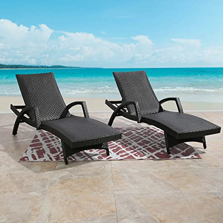 Amazon Com Ulax Furniture Outdoor Woven Padded 2 Pack Non Rust Aluminum Chaise Lounge Armed Patio Lounger Adjustable Chair With Wheels And Padded Quick Dry Foam Brown Kitchen Dining