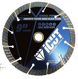 iCut Supreme Turbo Diamond Blade 10mm High Segment All Purpose for Concrete Block Brick Pavers (9 Inch)