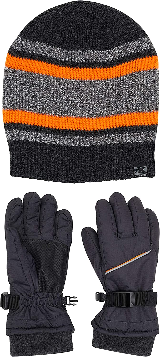 ZeroXposur Boys Winter Gloves and Reversible Winter Hat Set with Thinsulate PVC Palms and Fleece Elastic cuffs
