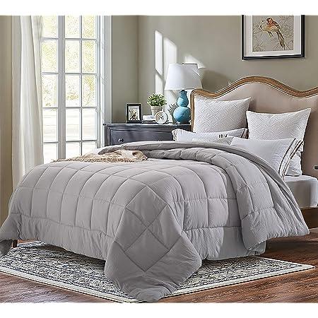 Evolive All Season Pre Washed Soft Microfiber White Goose Down Alternative Comforter (Grey, King)