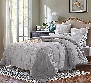 EVOLIVE All Season Pre Washed Soft Microfiber White Goose Down Alternative Comforter (Grey, Twin)