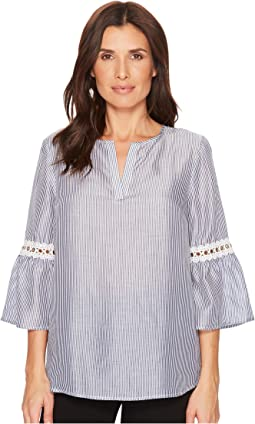 Ivanka Trump Striped Flared Sleeve Blouse