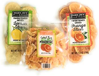 Trader Joes Dried Fruit Snack Bundle - Individual Variety Pack Featuring a Mix of Sweetened Lemon, Juicy Mandarin Orange, and Tasty Orange Slices - A Natural Healthy Snack for Adults and Kids